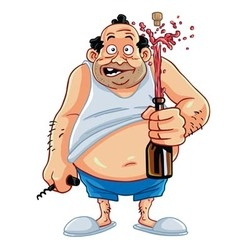 Fat Man Opening Champagne Bottle vector image