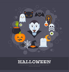 flat halloween banners with creepy elements and vector image