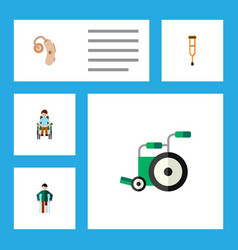 Flat icon cripple set of injured disabled person vector