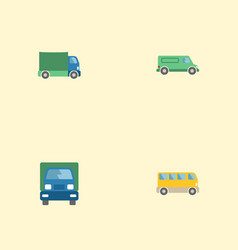 flat icons omnibus truck lorry and other vector image