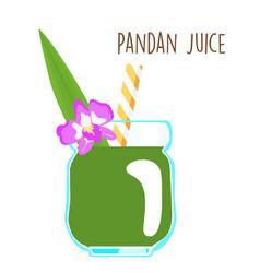 Fresh green aromatic pandanus leaf juice vector