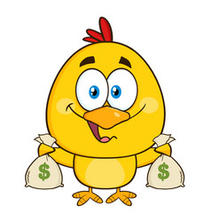 funny yellow chick character holding money bags vector image