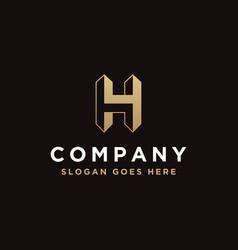 geometric minimalist letter h logo icon vector image