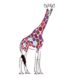 giraffe with psychedelic colored spots vector image