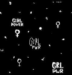 Girl power shirt quote lettering seamless pattern vector