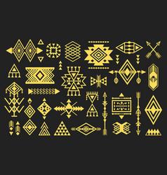 Golden like trendy aztec and tribal symbols set vector