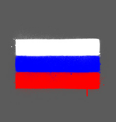 graffti russia flag sprayed over grey vector image