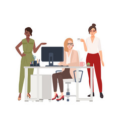 Group of female employees or managers at office vector