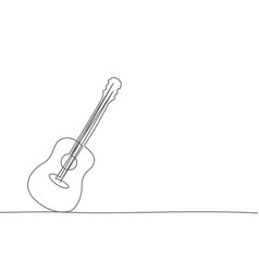 guitar one line drawing on white background vector image