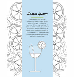 Hand drawn design template with lime and cocktail vector