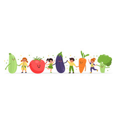 happy kids with vegetables smiling girls vector image