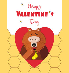happy valentines day greeting card of cute bear vector image