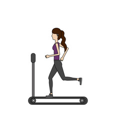 Healthy woman doing exercise in the runing mashine vector