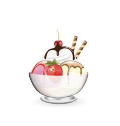 ice cream in a glass with strawberry and cherry vector image