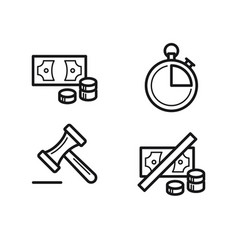 Icon money banknote coins clock and judge vector