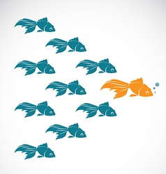 image of an goldfish showing leader individuality vector image