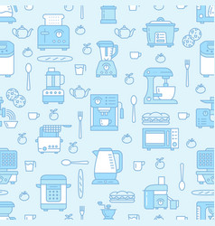 Kitchen utensil small appliances blue seamless vector