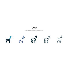 Lama icon in different style two colored and vector