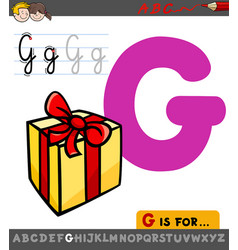 Letter g worksheet with cartoon gift vector