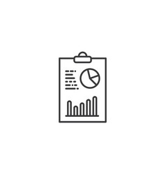 line analytics on clipboard icon on white vector image