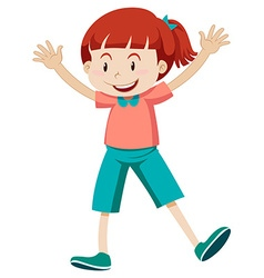 Little girl in pink shirt vector