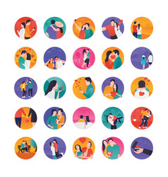 Lovers stories icons vector
