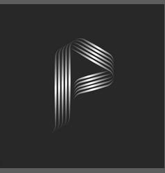 monogram letter p logo initial minimal style vector image