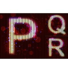 Neon Light Alphabet - PQR vector image