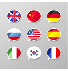 Nine colorful speech bubbles with flags different vector