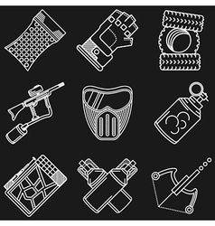 Paintball white line icons vector image