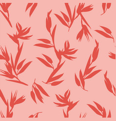 Pink seamless pattern with red heliconia bihai vector