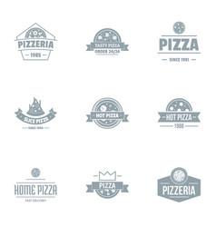 Pizza pie logo set simple style vector