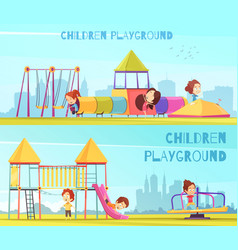 Playground horizontal banners set vector