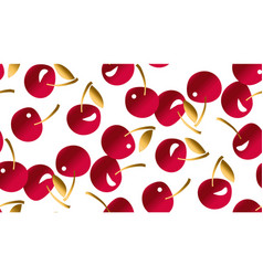 red and gold simple cherry seamless pattern vector image