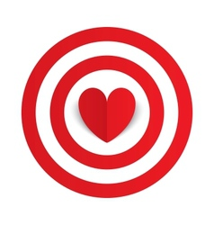 red paper heart in center darts target aim vector image