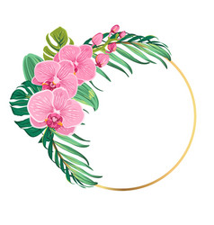 Ring border frame orchid flowers tropical leaves vector