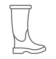 rubber boot thin line icon footwear vector image
