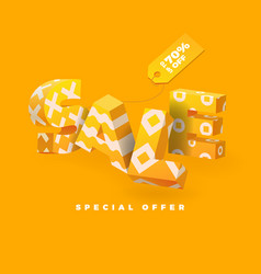 sale 3d sign yellow vector image