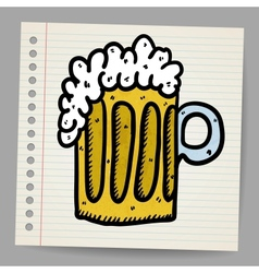 Scribble beer mug vector image