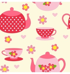 Seamless pattern with tea cups and pots vector image