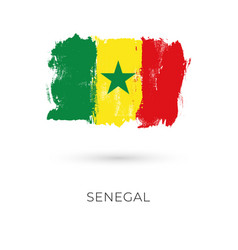 senegal flag brush strokes painted national vector image