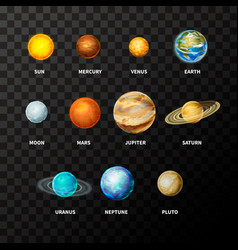 set bright realistic planets on solar system vector image