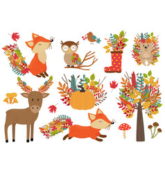set isolated forest animals and autumn plants vector image