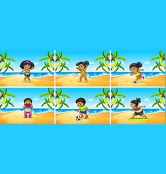 Set of african children exercise at beach vector