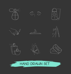 set of beauty icons line style symbols with vector image