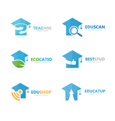 set of graduate hat logo combination school and vector image
