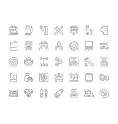 set simple icons garage and car service vector image