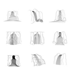set waterfall cascade vector image