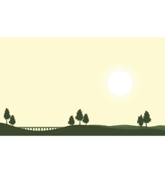 Silhouette of bridge on hill backgrounds vector