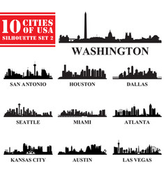 silhouettes cities usa set 2 vector image
